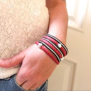 Jewelry - BOGO SALE 80s Red Rhinestone Words Wrap Bracelet